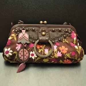 Isabella Fiore canvas leather multi color clutch